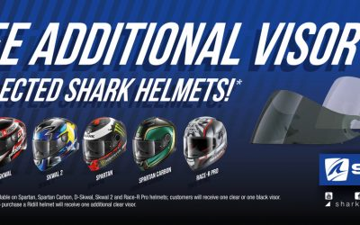 FREE ADDITIONAL VISOR ON SELECTED SHARK HELMETS!