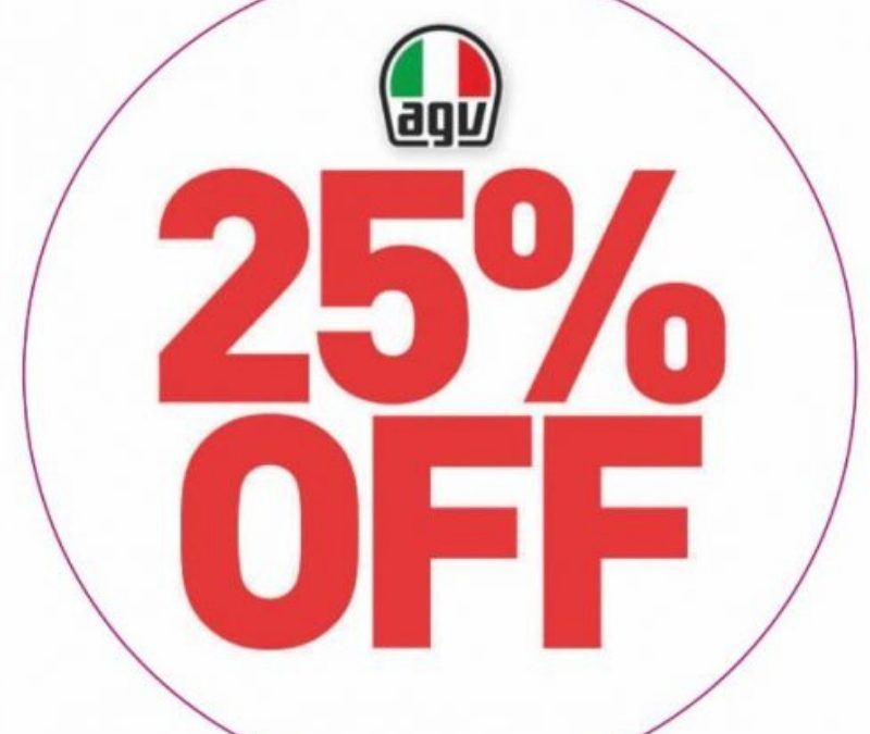 25% OFF SELECTED AGV HELMETS AND VISORS